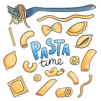 Сырье итальянская паста набор. пенне, фузилли и ригатони сухие макароны изолированные коллекции. веганская еда приготовления иллюстрации