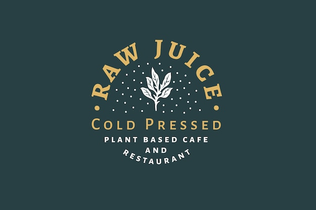 Raw juice - cold pressed logo and label template