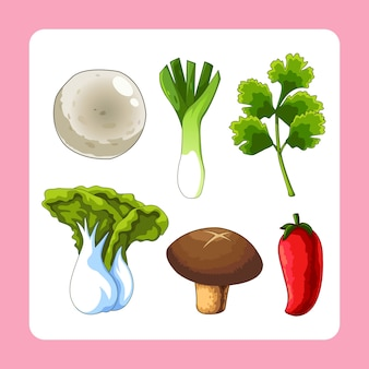 Raw material of food cartoon vector