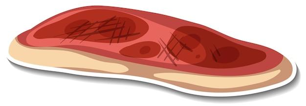 Наклейка сырого мяса на белом фоне