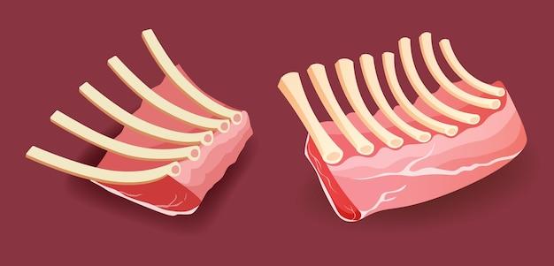 Телячьи ребрышки сырого мяса на красном фоне векторные иллюстрации
