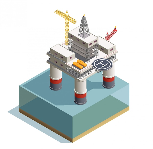 Raw oil extraction from under the sea bed deposits isometric composition with drilling rig platform illustration