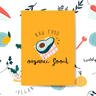 Raw organic food avocado card vector