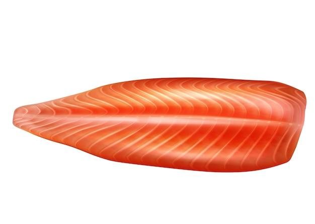 생 연어 생선 필렛 3d 벡터 현실적인 격리 된 그림을 벗 겼습니다. 해산물 필레, 송어 신선한 스테이크 또는 붉은 생선.