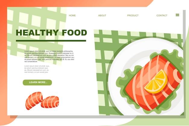 샐러드와 레몬 건강 식품 광고 배너를 곁들인 접시에 생 연어 스테이크