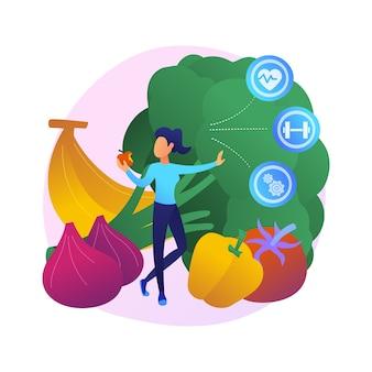 生のビーガニズムの抽象的な概念図。ローフード主義と果物食主義、ジュースと新芽の食事、動物由来の製品、有機食品の食事、健康的なビーガン、ボディデトックス