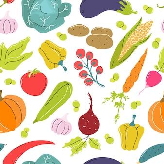 生野菜キャベツニンジントマトビート白地にベクトルシームレスパターン