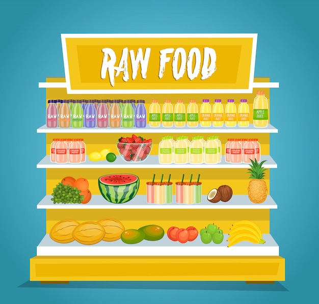 Raw vegetarian food vector concept in flat design