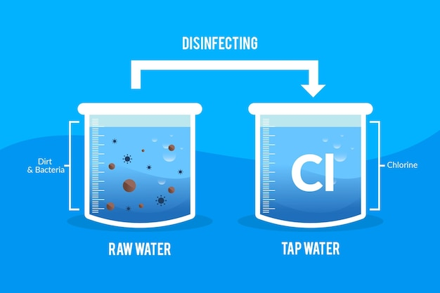 Raw water disinfected with chlorine