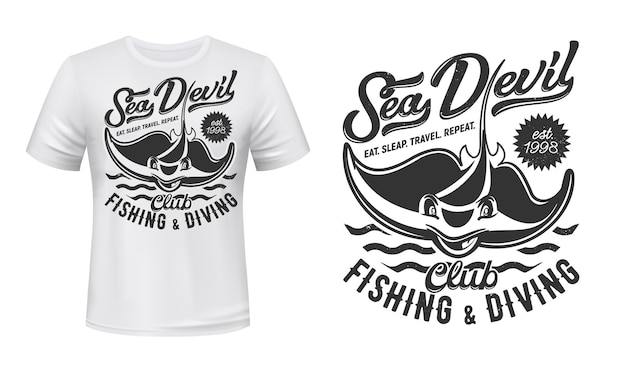 Ray t-shirt print mockup, fishing and diving club