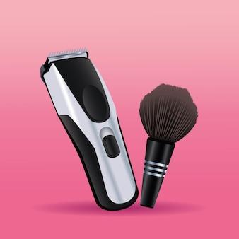 Бритва электрическая машина и щетка парикмахерские инструменты оборудование значки иллюстрации