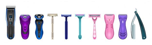 Бритва изолированных реалистичный набор значок. иллюстрация бритвы на белом фоне. реалистичный набор иконок аксессуаров для бритья.