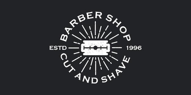 理髪店のヴィンテージデザインのかみそりのロゴのインスピレーション