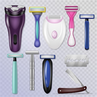 Razor realistic sharp blade sharp shaver and personal male shaving equipment illustration hygiene set of woman daily razor-blade bathroom accessory isolated on transparent background