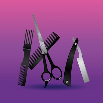 Razor and scissors with combs hairdressing tools equipment icons  illustration