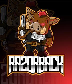 Логотип талисмана razorback esport