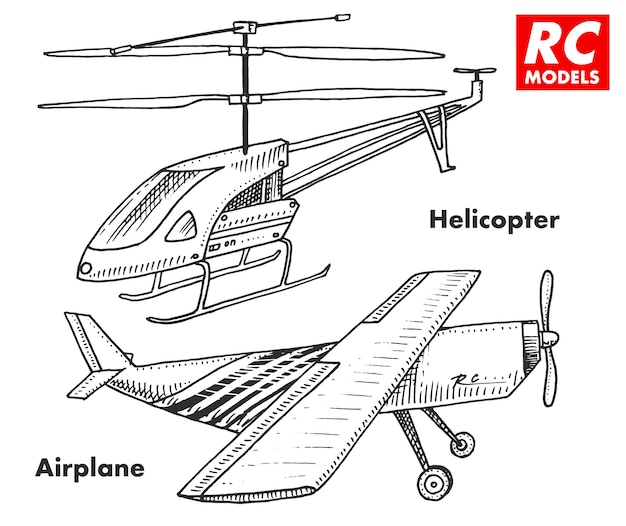 Rc輸送、リモートコントロールモデル。エンブレム、アイコンのおもちゃ要素。ヘリコプターと航空機または飛行機。