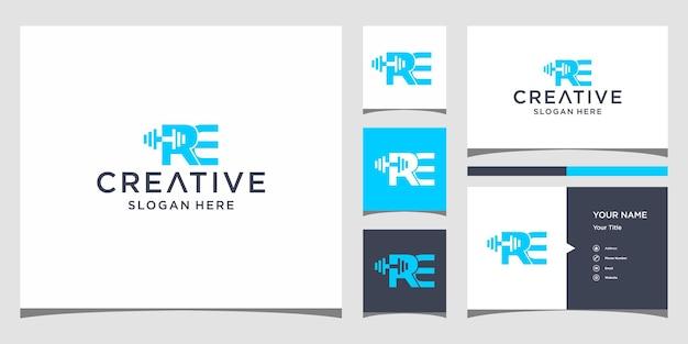 Дизайн логотипа re fitness с шаблоном визитной карточки