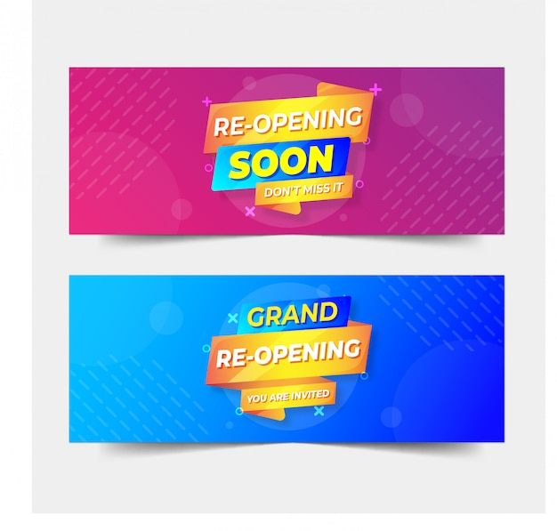 Re-opening blue and pink banner template