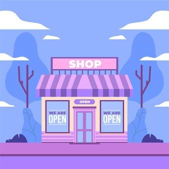 Riapertura dell'illustrazione con il segno del negozio