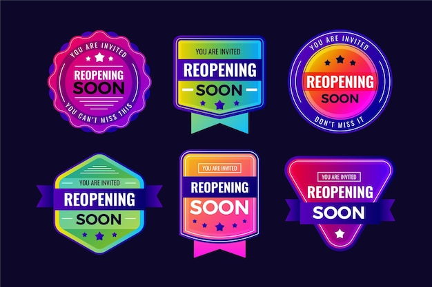 Re-opening soon badges collection