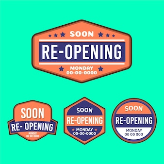 Re-opening soon badges set
