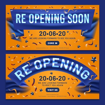 Re-opening soon banner collection