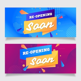 Re-opening soon banner template with memphis effect