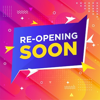 Re-opening soon banner template with memphis