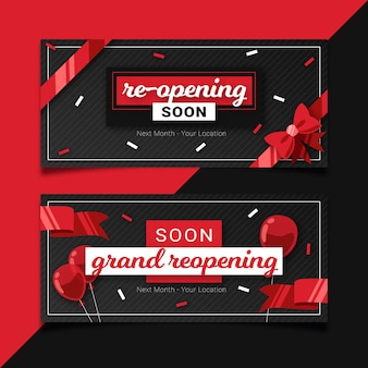 Re-opening soon banner with confetti