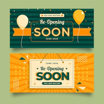 Re-opening soon banners