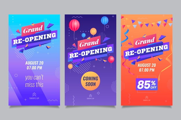 Re-opening soon social media instagram stories