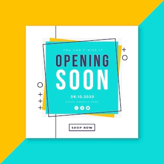 Re-opening soon squared frame background
