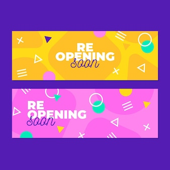 Re-opening with memphis effect banner template