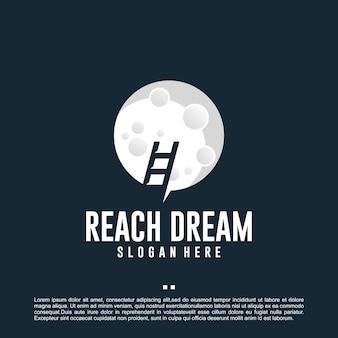 Достичь мечты, лестницы, целей, шаблона дизайна логотипа
