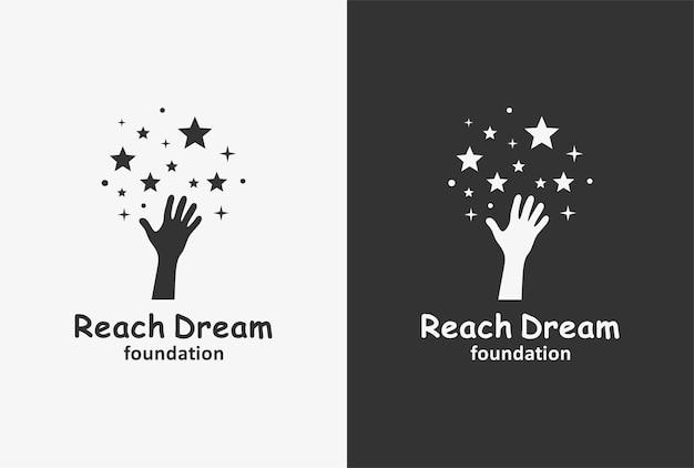Reach dream logo design with hand star element.