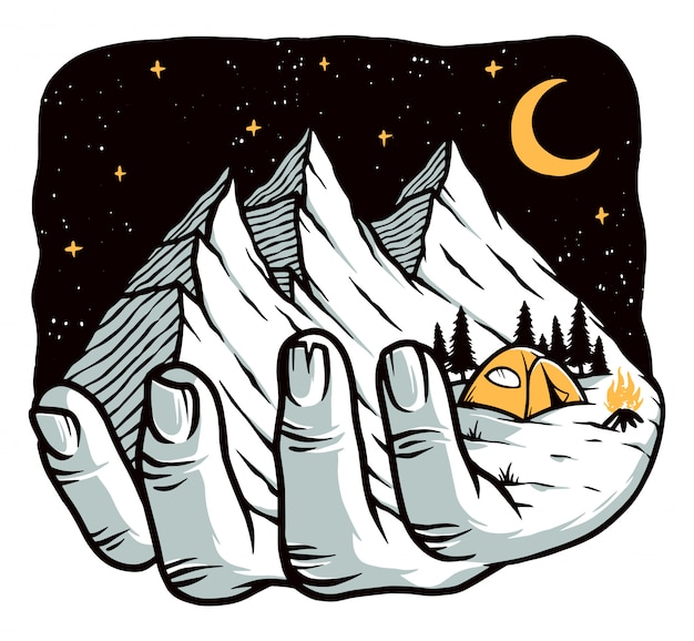 Reach for the mountain illustration