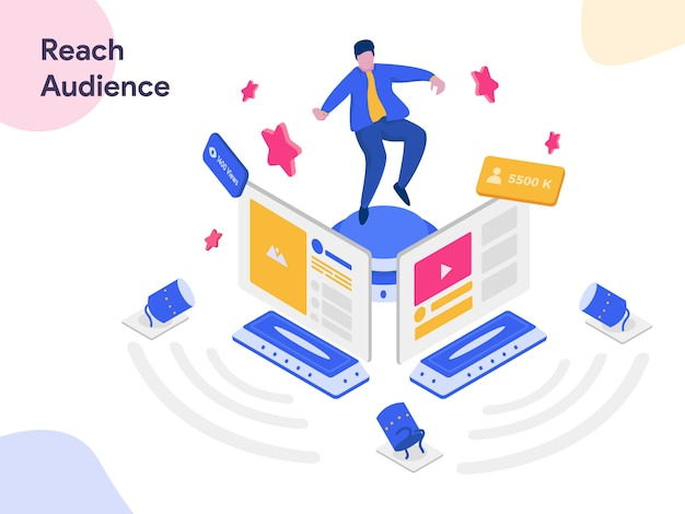 Reach social media audience isometric illustration
