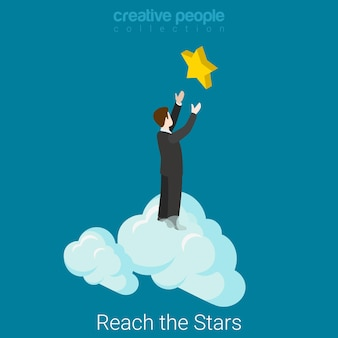 Reach the stars flat isometric business success concept  businessman in clouds reaching hands to the star.