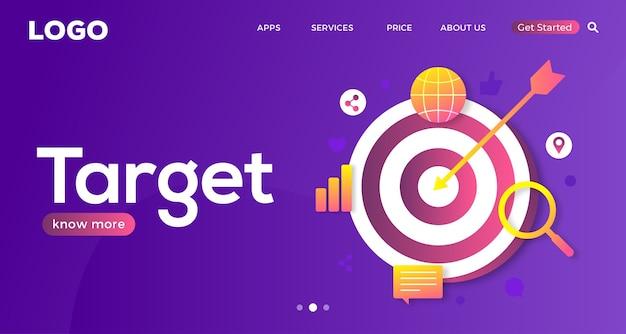 ターゲットのデジタルマーケティングウェブサイトのランディングページテンプレートデザインに到達する