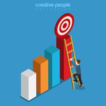 Raggiungere l'obiettivo target in cima al business isometrico piatto grafico a barre