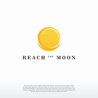 Шаблон дизайна логотипа reach the moon, символ логотипа луны