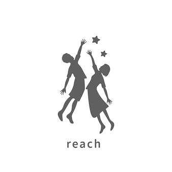 あなたの夢の創造的なシンボルの概念に到達します。成功、目標、大学院の抽象的なビジネスロゴのアイデア。幸せな子供、男の子と女の子のシルエットと星のアイコン。
