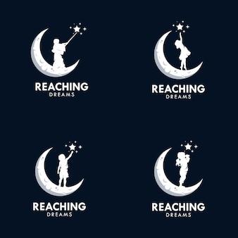 夢に到達するロゴデザインテンプレート