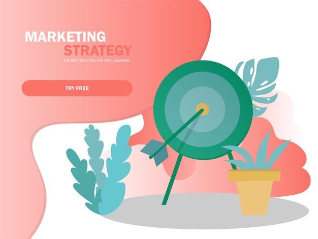 Reaching goals banner, goal setting concept, business success, business open achievement, target arrow illustration in modern colors