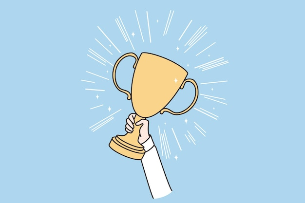 Reaching goals winner victory concept
