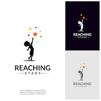 Reaching stars logo design template. dream star logo.