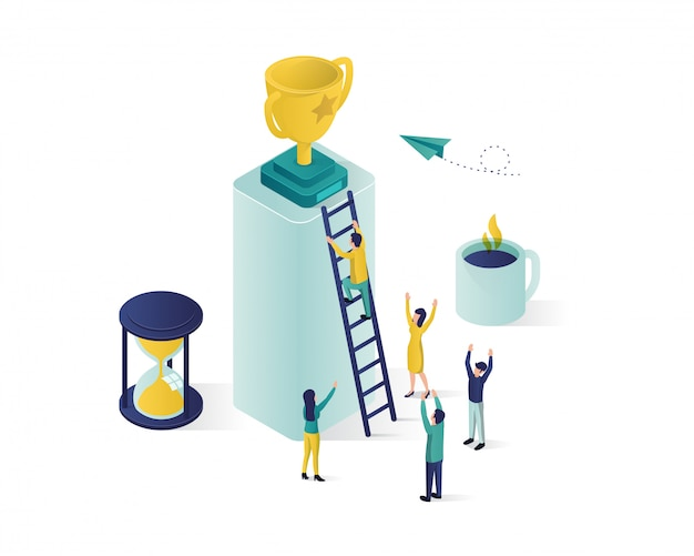 Reaching the success isometric illustration.