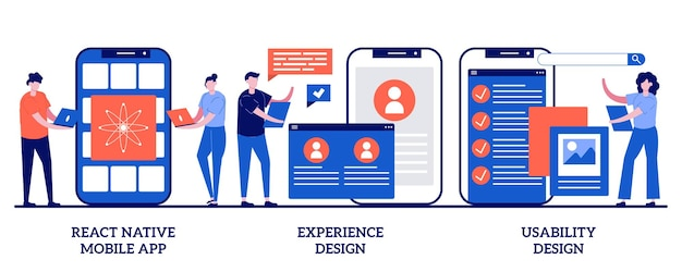 React native モバイル アプリ、エクスペリエンス デザイン、ユーザビリティ テスト。モバイルアプリ開発プロセスのセット