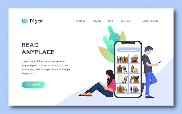 Read anyplace landing page design